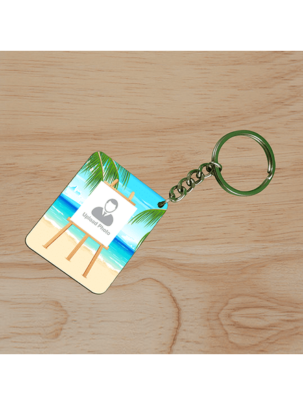Beach View Standy Personalized Small Rectangle Shape Keychain-SSRECTC0012A