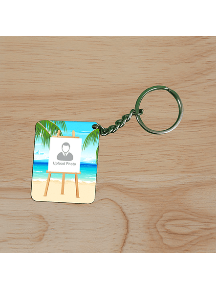 Beach View Standy Personalized Small Rectangle Shape Keychain-2