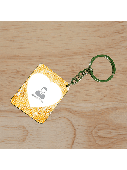 Golden Glitter Personalized Small Rectangle Shape Keychain-SSRECTC0017A