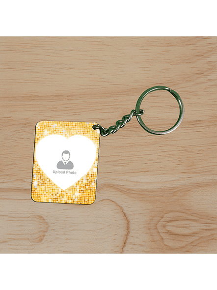 Golden Glitter Personalized Small Rectangle Shape Keychain-2