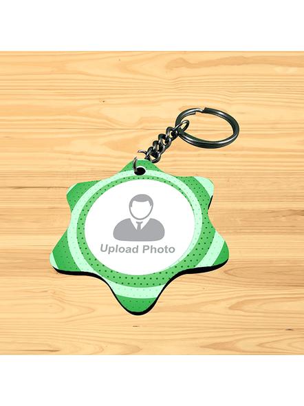 Green Pattern Personalized Star Shape Keychain-SSSTARKC0002A