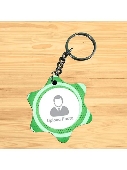 Green Pattern Personalized Star Shape Keychain-1