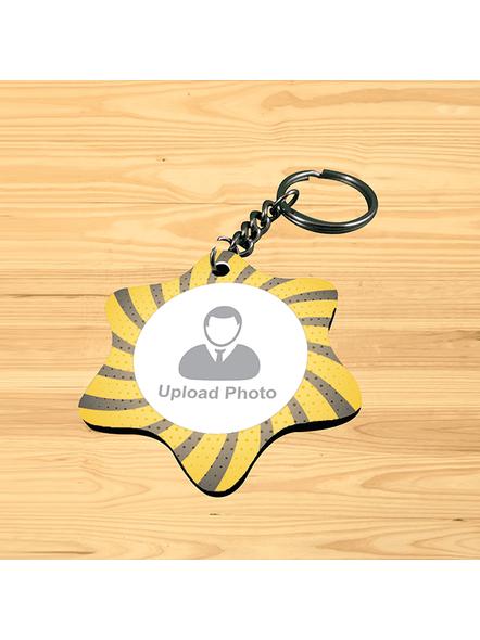 Yellow Black Personalized Star Shape Keychain-SSSTARKC0004A