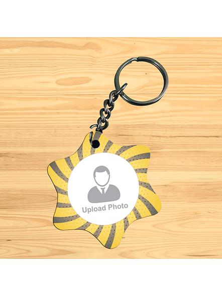 Yellow Black Personalized Star Shape Keychain-1