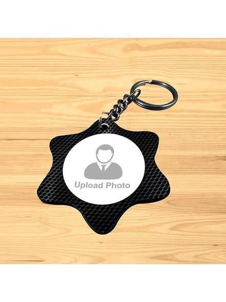 Black Pattern Printed Personalized Star Shape Keychain-SSSTARKC0007A