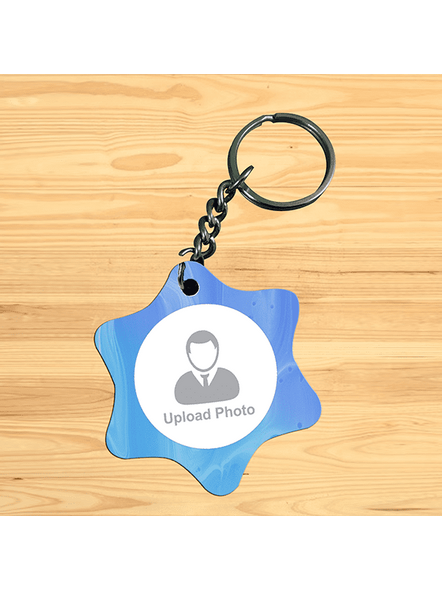 Water Colour Printed Personalized star Shape Keychain-1
