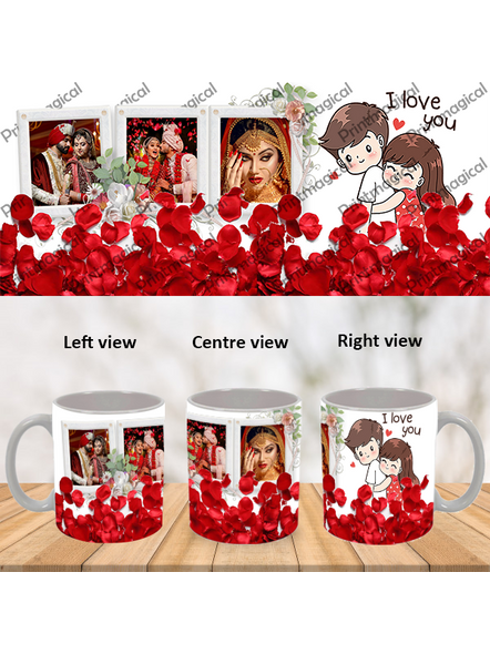 Elegent Looking Rose Leaves Personalized Special White Mug-WM0049A