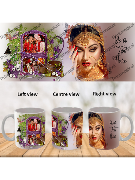 Beautiful Floral House Personalized 3 Photos Special White Mugs-WM0051A