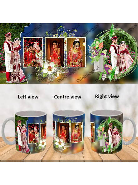 Wedding Pattern 5 Photos Personalized Special White Mug-WM0057A