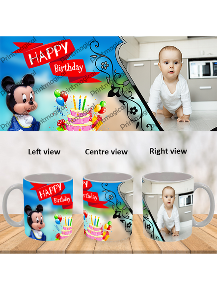 Birthday Cake with Micky Mouse Personalized Special White Mug-WM0058A