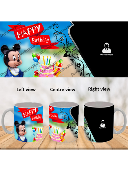 Birthday Cake with Micky Mouse Personalized Special White Mug-1
