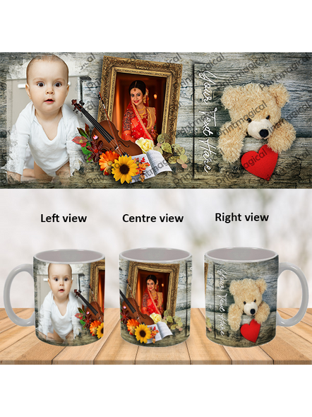 Teddy with Flowral Pattern Personalized Special White Mug-WM0059A