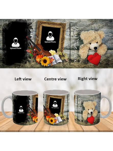 Teddy with Flowral Pattern Personalized Special White Mug-1