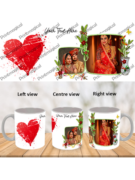 Hearts with Flower Personalized Special White Mugs-WM0061A