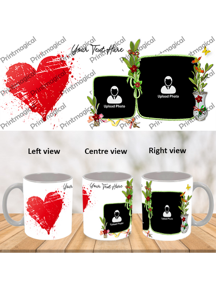 Hearts with Flower Personalized Special White Mugs-1
