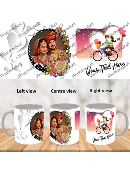 Couple Walking on Cycle Personalized Special White Mugs-WM0062A