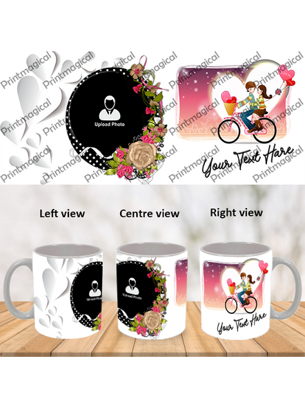 Couple Walking on Cycle Personalized Special White Mugs-1