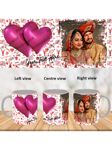 Love Pattern purple Hearts together Personalized Special White Mugs-WM0064A