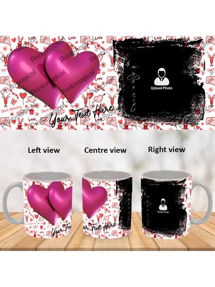 Love Pattern purple Hearts together Personalized Special White Mugs-1