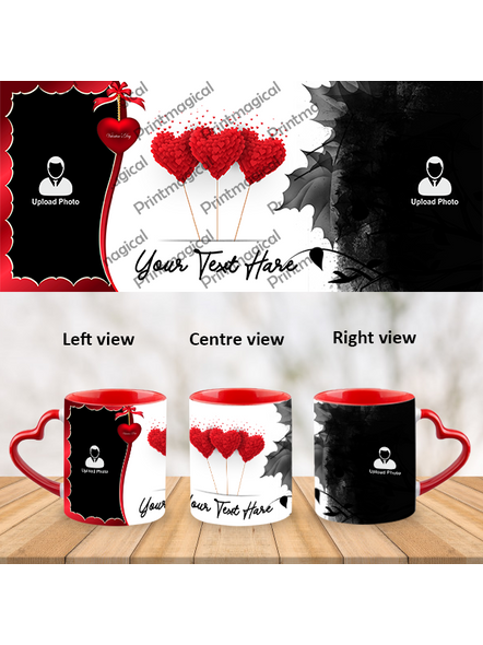 Flying Hearts Valentine Customized Heart Handle Mug-1