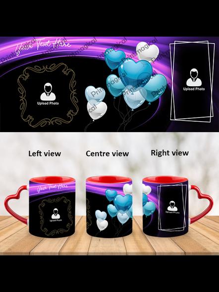 Flying Heart balloons Personalized Heart Handle Mug-1