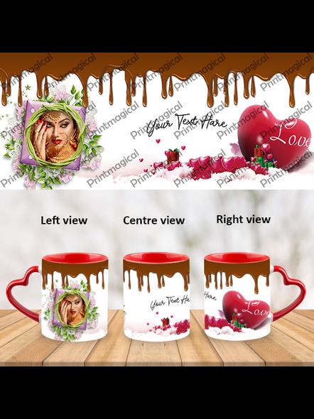 Chocolate Pudding Personalized Heart Handle Mug-HM0053A