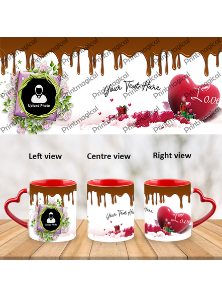 Chocolate Pudding Personalized Heart Handle Mug-1
