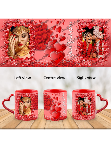 Valentine Hearts Pattern Elegant Looking Personalized Heart Handle Mug-HM0055A