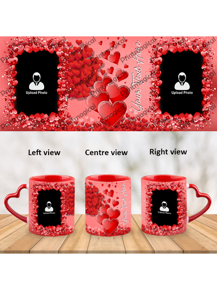 Valentine Hearts Pattern Elegant Looking Personalized Heart Handle Mug-1
