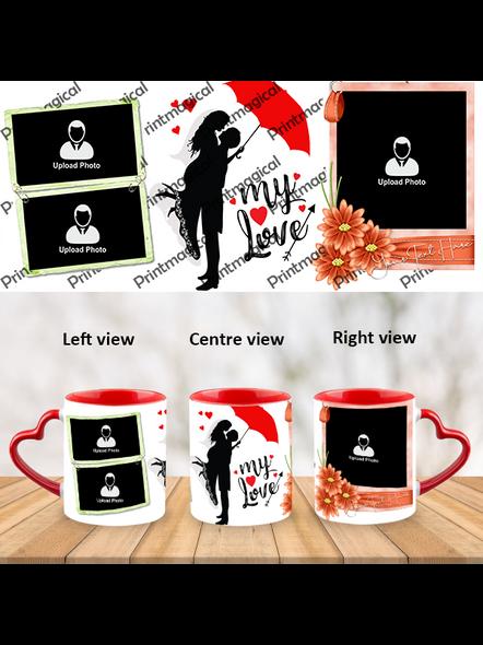 My Love Couple Love Personalized Heart Handle Mug-1