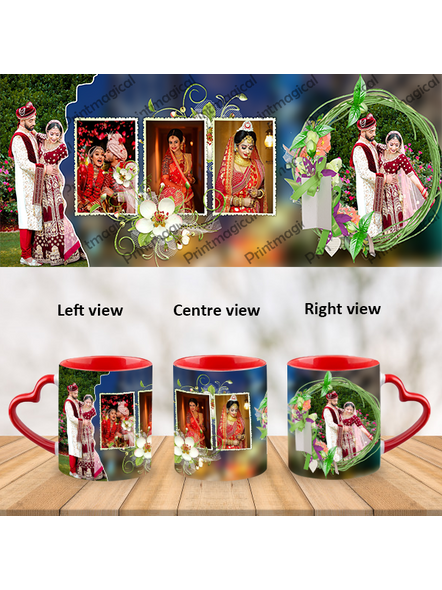 Wedding Pattern 5 Photos Personalized Heart Handle Mug-HM0057A