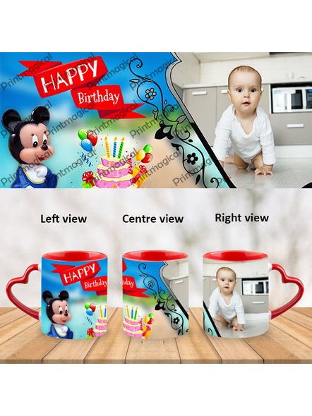 Birthday Cake with Micky Mouse Personalized Heart Handle Mug-HM0058A