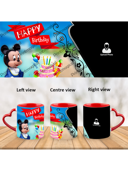Birthday Cake with Micky Mouse Personalized Heart Handle Mug-1