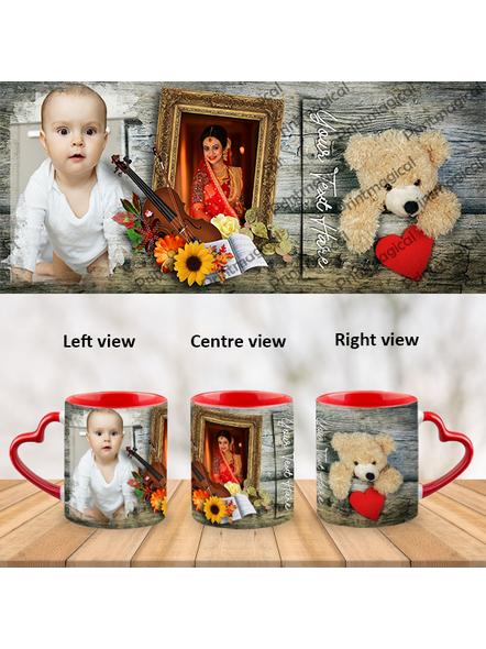 Teddy with Floral Pattern Personalized Heart Handle Mug-HM0059A