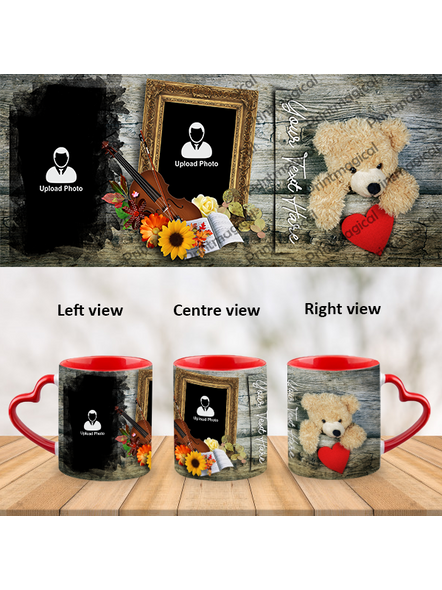 Teddy with Floral Pattern Personalized Heart Handle Mug-1