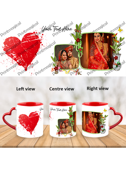 Hearts with Flower Personalized Heart Handle Mugs-HM0061A