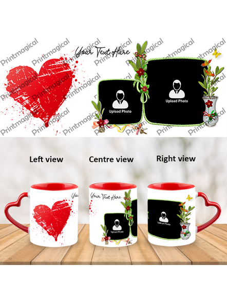 Hearts with Flower Personalized Heart Handle Mugs-1