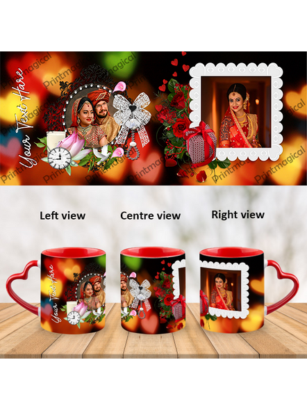 Wedding Frames Designer Personalized Heart Handle Mugs-HM0063A