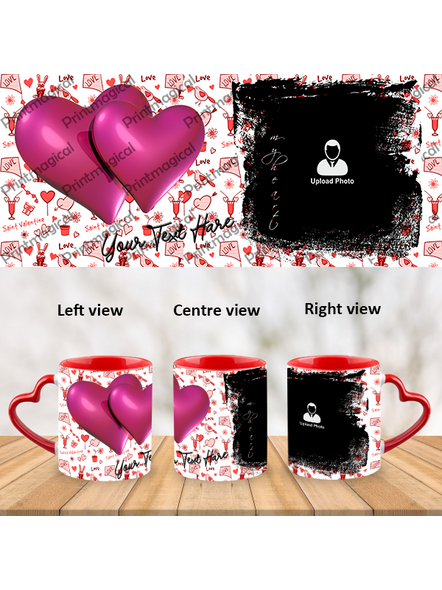 Love Pattern purple Hearts together Personalized Heart Handle Mugs-1