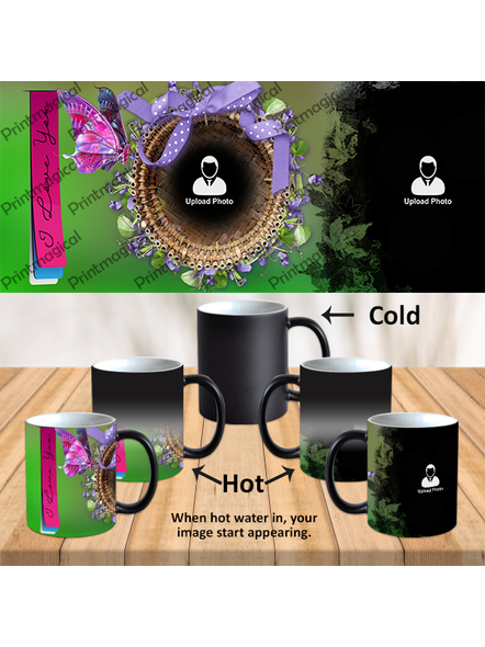 I love You Ribbons Personalized Black Magic Mugs-1