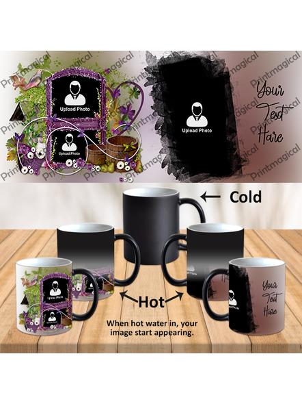 Beautiful Floral House Personalized 3 Photos Black Magic Mugs-1