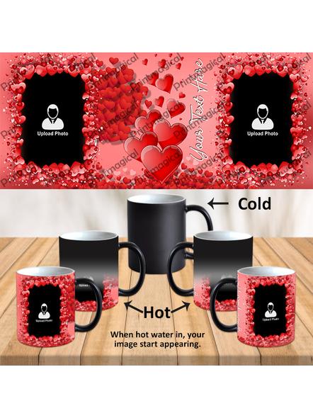 Valentine Hearts Pattern Elegent Looking Personalized Black Magic Mug-1