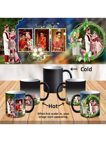 Wedding Pattern 5 Photos Personalized Black Magic Mug-MM0030A