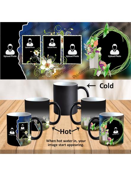Wedding Pattern 5 Photos Personalized Black Magic Mug-1