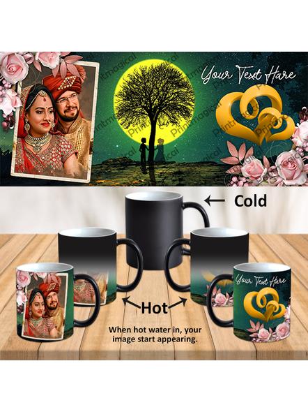 Night Moon View Couples Personalized Black Magic Mug-MM0033A