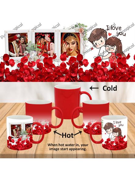 Elegent Looking Rose Leaves Personalized Red Magic Mug-MMR0004A