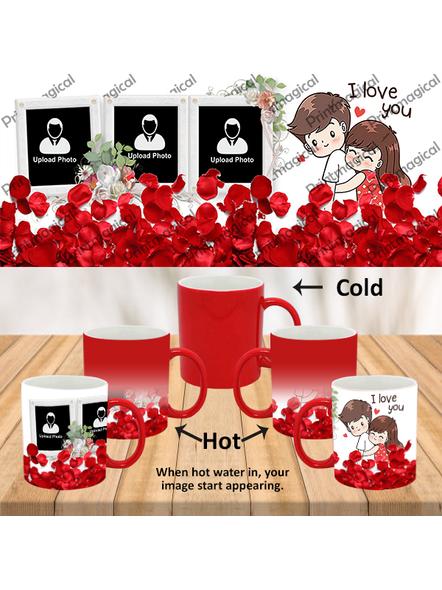 Elegent Looking Rose Leaves Personalized Red Magic Mug-1