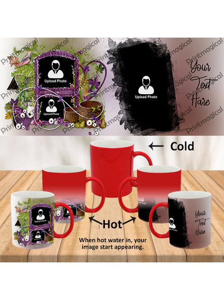 Beautiful Floral House Personalized 3 Photos Red Magic Mugs-1