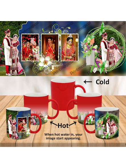 Wedding Pattern 5 Photos Personalized Red Magic Mug-MMR0012A