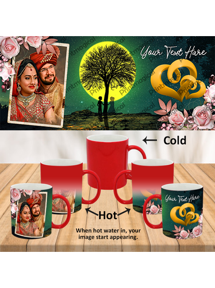 Night Moon View Couples Personalized Red Magic Mug-MMR0015A